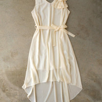 Ruffle & Knot Dress in Ivory [4929] - $42.00 : Vintage Inspired Clothing & Affordable Dresses, deloom | Modern. Vintage. Crafted.