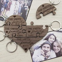 Personalized Keychains Our Family Heart Wooden Jigsaw Keyring