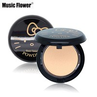 Music Flower Brand Face Makeup Hello Kitty Style Pressed Powder Palette Facial Powder Foundation Whitening Concealer Oil-control