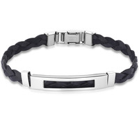 Braided Leather and Stainless Steel Unisex Bracelet