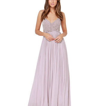 Lace Patch Backless Pleated Maxi Dress