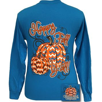SALE Girlie Girl Originals Happy Fall Yall Chevron Pumpkin Halloween short sleeve T Shirt