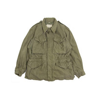 ARMY FIELD JACKET  olive green army jacket Cargo military united states cold weather button navy camo Vintage Mens Small