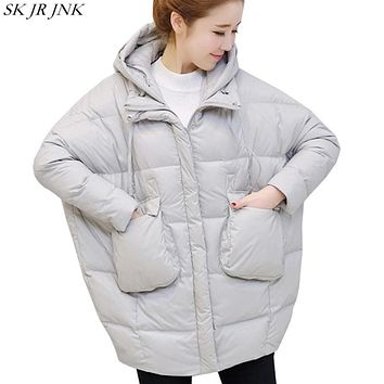 Oversize Loose Warm Hooded Parka 2017 Winter Fashion Plus Size Thicken Cocoon Padded Jacket Casual Women Print Wadded Coat HCY82