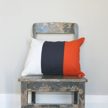 Orange, white & navy color block pillow cover, white cushion cover, industrial decor, navy blue,  lumber pillow