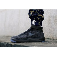 Originals Nike Air Force One 1 Flyknit Mid Black Running Sport Casual Shoes '07 817420-010 Sneakers