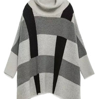Gray High Neck Plaid Batwing Sleeve Cape Sweater