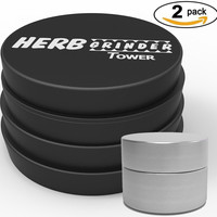 Herb Grinder Tower #1 Best Grinder for Herbs, Tobacco and Spices 4 Piece 2.5 Inch Aluminium with Pollen Catcher & free scraper