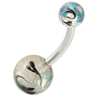 Glitter Ball End Belly Button Ring For Girls [Gauge: 14G - 1.6mm / Length: 10mm] 316L Surgical Steel & Acrylic (Black) (BHPG41)