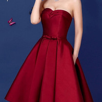 Wine Red Swetheart Bowknot Waist Lacing Back Strapless Prom Skater Dress