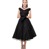 BEST SELLER! 1950s Style Black Cotton Sateen Scallop Brenda Swing Dress - Unique Vintage - Prom dresses, retro dresses, retro swimsuits.