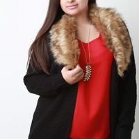 Knitted Faux Fur Cardigan