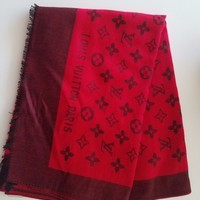 Louis Vuitton Scarf Stole red and black large scarf