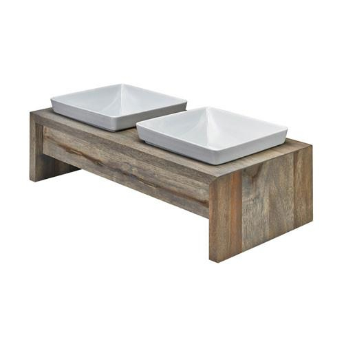 Image of Artisan Rubberwood Double Elevated Dog Bowl Feeder — Fossil