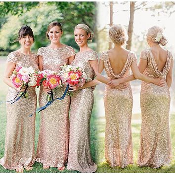 Blinging Gold Sequin Bridesmaid Dress 2016 New Popular Short Sleeve Mermaid with Sexy Open Back Prom Dresses