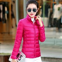S - 3XL Autumn Winter Wadded Coat Women Foldable Light Warm Down Jacket Long Sleeve Solid Outwear Coats with Admission Bag 62823