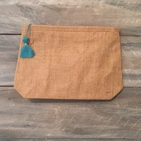 Monogrammed Jute Cosmetic Bag, Carry all, organizer, bag *free shipping *