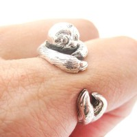Realistic Sloth Shaped Animal Wrap Around Ring in 925 Sterling Silver | US Sizes 4 to 8.5