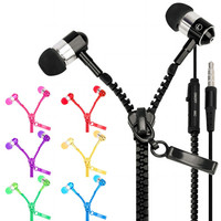 In-Ear Stereo 3.5mm Jack Earbuds Earphone Mic Zipper Tangle