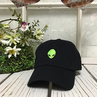 ALIEN HEAD Baseball Hat Curved Bill Low Profile Embroidered Baseball Caps Dad Hats Black