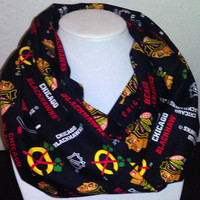 Chicago Blackhawks Infinity Scarf - NHL Hockey -  Cotton Infinity Cowl for Women