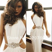 Vestidos De Fiesta Real Made Sexy Crystal Beaded High Neck White/Ivory Mermaid Long Prom Dresses 2014-in Prom Dresses from Apparel & Accessories on Aliexpress.com | Alibaba Group