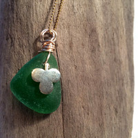 Sea Glass Pendant Vintage Shamrock Charm  Lake Erie Beach Glass Upcycled Recycled Eco Friendly