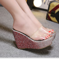 New type of sequined waterproof platform slippers with high heels and thick soles