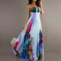 Sexy Wrapped Chest Sleeveless Off Shoulder Backless Fashion Printing Temperament Maxi Dress Evening Dress WAC1847 [7981324167]
