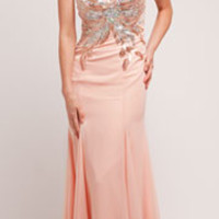 Blush Beaded Sleeveless Mermaid Dress Prom 2015