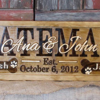 Personalized Family Name Signs CARVED Custom Wooden Sign Last name Wedding Gift Tree Mountain Established Anniversary wedding couples plaque