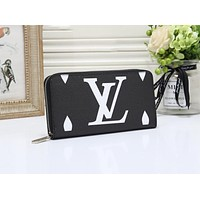 LV Louis Vuitton Newest Hot Sale Women Fashion Leather Zipper Wallet Purse Black
