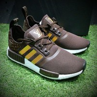 Best Online Sale Louis Vuitton LV x Adidas Customise NMD R1 Boost Men R_1 Brown Gold Sport Running Shoes