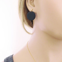 Modern, Black, Onyx, Gemstone, Gold, Silver, Earrings, Disc, Circle, Drop, Dangle, Post, Onyx earrings, Everyday, Gift, Jewelry