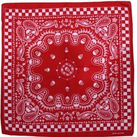 Free Shipping 2018 New Hip Hop Unisex Red Skull Paisley Checked Bandanas Headwear For Mens Womens