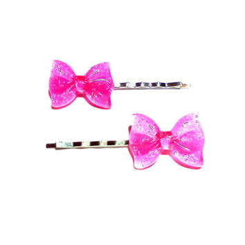 Pink Glitter Bow Bobby Pins Cabochon Hair Pins Party Bachelorette Accessories