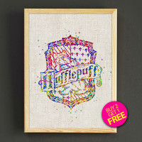 Hufflepuff Quotes Watercolor Art Print Harry Potter Poster House Wear Wall Decor Gift Linen Print - Harry Potter - Buy 2 Get 1 FREE - 67s2g