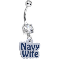 Handcrafted Clear Gem I Navy Wife Dangle Belly Ring | Body Candy Body Jewelry