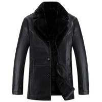 Russian Winter Black leather jackets High quality Thick Warm Mens leather jacket and coat Fashion Casual Men's Clothing jaquet