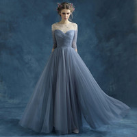 Bridesmaid Dress/  Blue Grey perspective halter bride bridesmaid Dress perform wedding gown dress/ Wedding Dress/ Dinner Dress