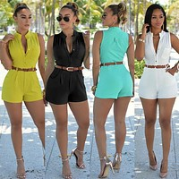 Summer Fashion Women Playsuit Rompers Sexy Womens Jumpsuit Short Bodycon Sleeveless Jumpsuits Women Overalls Suit With Belt