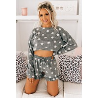 Rest Your Eyes Star Printed Two Piece Set (Heather Grey)