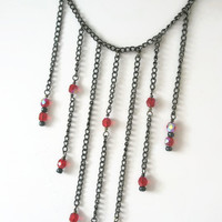 Necklace and Earring set Red fire polished Czech Beads Antique Black Chain Victorian Gothic style