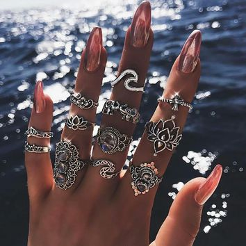 Bohemian Opal Crown Lotus Wave Midi Ring Set