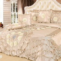 Tache 6 Piece Faux Sateen Royal Wedding Chamber in Cream Comforter Set (BM-6439)