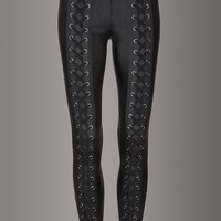 Aces High Shiny Laced Up Skinny Fit Pants