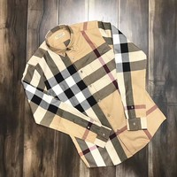 Burberry High Quality Men's Casual Stripes Plaid Long Sleeved Shirt G-A-XYCL