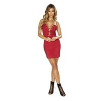 Women's Strapless Satin Mini Dress with Lace-Up Detail