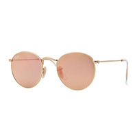 Round Metal-Frame Sunglasses with Pink Lens - Ray-Ban