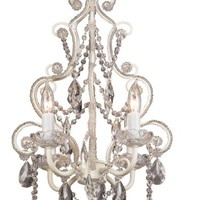 Leila White Clear Swag Plug-in Chandelier
